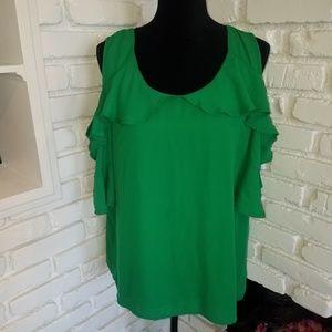 Cold shoulder green blouse